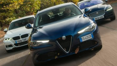 Alfa Romeo Giulia vs Jaguar XE vs BMW 3 Series - header