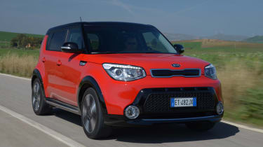 The Kia Soul is a chunky-looking SUV crossover with a practical interior.