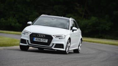 Audi A3 vs Volvo V40 vs Volkswagen Golf - A3 front cornering