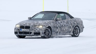 BMW 4 Series Convertible spies - front 3/4 winter