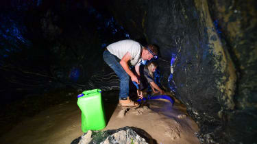Rob and Emily in a cave