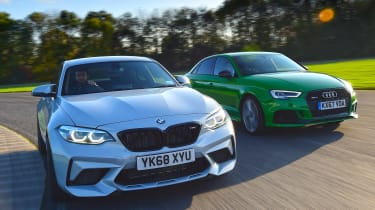 bmw m2 competition vs audi rs 3 saloon twin test