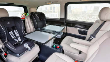 The rear cabin features four seats as standard, the V-Class can be specified in two different lengths with three different seat layouts.