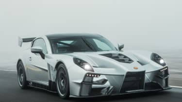 New Ginetta supercar tracking front quarter