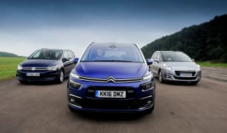 Citroen Grand C4 Picasso vs Volkswagen Touran vs Peugeot 5008 - header