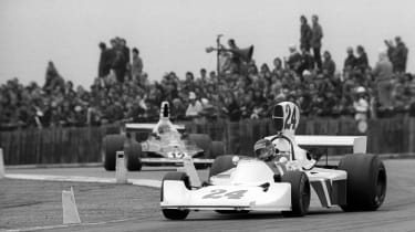 James Hunt racing for Hesketh at Silverstone in 1975