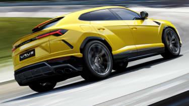 Lamborghini Urus - rear on track