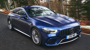 mercedes-amg gt 4-door tracking front quarter