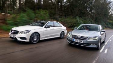 Mercedes E-Class vs Skoda Superb - front driving