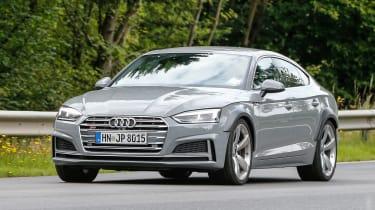 Audi RS5 Sportback spy shot front quarter