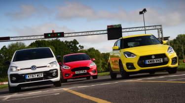 Suzuki Swift Sport vs Volkswagen up! GTI vs Ford Fiesta ST-Line group test