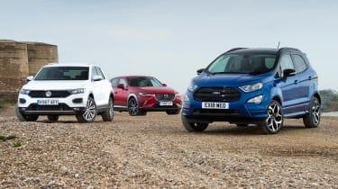 Ford EcoSport vs Volkswagen T-Roc vs Mazda CX-3 - header
