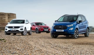 Ford EcoSport vs Volkswagen T-Roc vs Mazda CX-3 - header