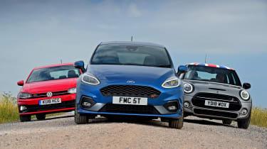 Ford Fiesta ST vs MINI Cooper S vs Volkswagen Polo GTI - static full front