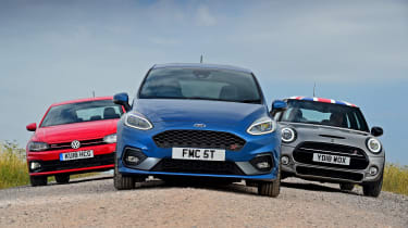Ford Fiesta ST vs MINI Cooper S vs Volkswagen Polo GTI - static full front