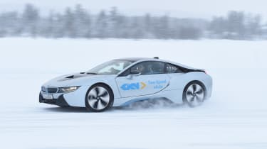 Winter testing in Arjeplog - BMW i8 drift