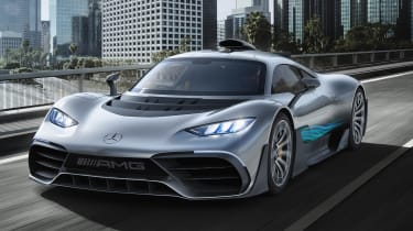 This staggeringly-quick, two-seater hypercar uses the same 1.6-litre V6 hybrid petrol engine as the Mercedes-AMG Petronas Formula One Team, with a total of four electric motors and top speed in excess of 200mph.