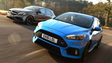Ford Focus RS Mountune vs Mercedes-AMG A 45 - header