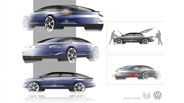 """<span id=""""docs-internal-guid-344d90de-7fff-3482-5964-aca15d44ee8a""""><span>James A Smith – James's proposal aimed to deliver an evolutionary D-segment design with strong proportions and luggage areas front and rear.</span></span>"""