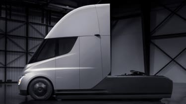 Tesla lorry - electric truck revealed - grey side profile