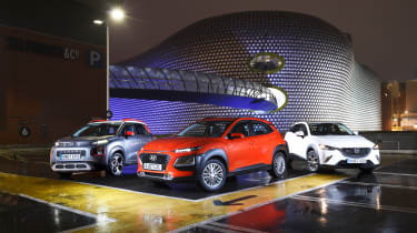 Hyundai Kona vs Citroen C3 Aircross vs Mazda CX-3 - header