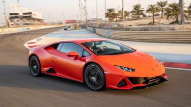 Lamborghini Huracan Evo - front cornering track