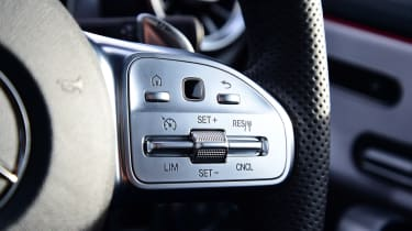 mercedes-amg a35 steering wheel interior detail