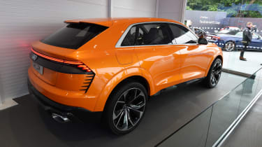 The striking Q8 Sport Concept previews the hot new Audi SQ8 SUV, which is set to feature a potent hybrid powertrain and a racy aerodynamic bodykit.