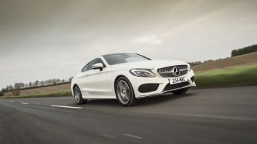 Mercedes C-Class Coupe C250d AMG Line - front tracking 2