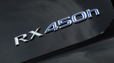 F-sport models of the RX450H recieve a chunkier bodykits and darker alloys to give more road prescence.