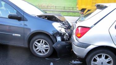 Rear end shunt - car crash
