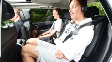 Rear seats offer plenty of legroom for Steve's kids.