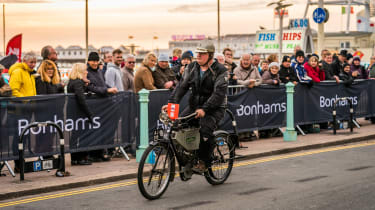 London to Brighton Veteran Car Run  -  bike finish