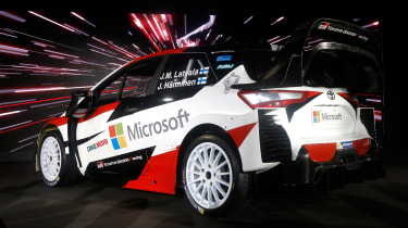 New Toyota Yaris WRC rally car - reveal rear quarter