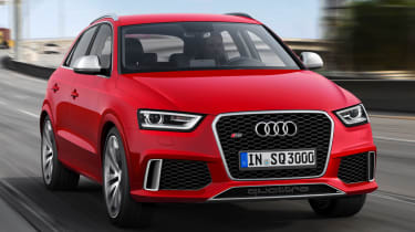 Audi Q3 RS front three quarter red tracking