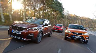Peugeot 3008 vs SEAT Ateca vs Renault Kadjar - header
