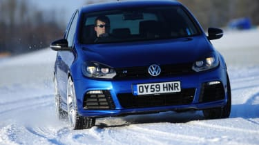 VW Golf R in the snow
