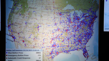 Map shows where in US in-car buttons are being pressed.