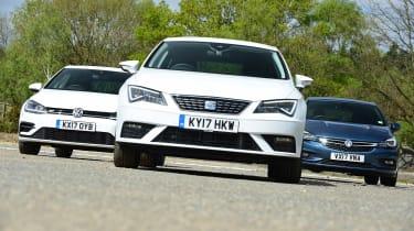 SEAT Leon vs Volkswagen Golf vs Vauxhall Astra - head-to-head static