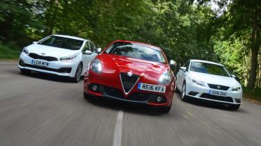 Alfa Romeo Giulietta vs SEAT Leon vs Kia Cee'd - header