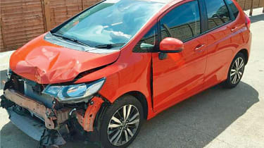crashed honda jazz