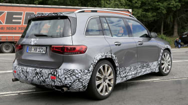 Mercedes-AMG GLB 45 - spied rear 3/4 tracking