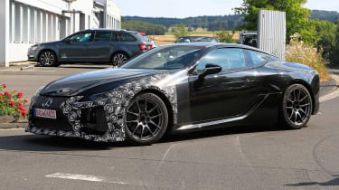 New Lexus LC F coupe spy shots - side