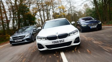 BMW 3 Series vs Mercedes C-Class vs Jaguar XE - header