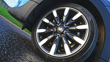 While the MINI's 17-inch alloys look great, they can give a bumpy ride. We'd recommend sticking with standard 15-inch wheels and adding optional adaptive dampers.