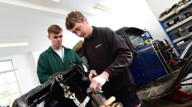 Student classic car mechanics