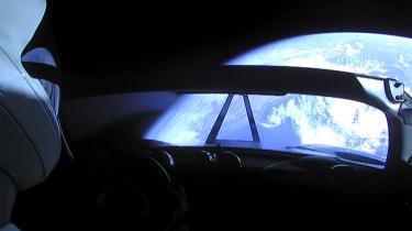 Tesla Roadster in space - interior