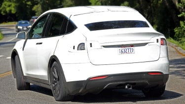 Tesla Model X spyshots rear side