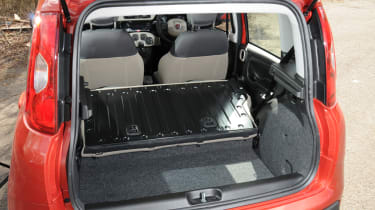 The Panda's boot is practical and the rear seat slides back and forward.