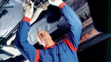 Car mechanic, servicing, fix, exhaust, spanner
